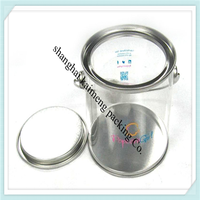 Hot selling round plastic cylinder biscuit tin for dried food storage