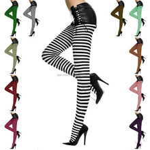 Sexy Footed Tights Stockings Pantyhose Stripe Hosiery Sock Hi Halloween Thigh/Sexy Footed Tights Stockings