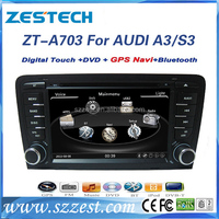 "ZESTECH 7"" 2 din Touch Screen TV/Dvd player/bluetooth/GPS/Radio/DVB/ISDB/ATSC dvd for Audi A3 car radio"