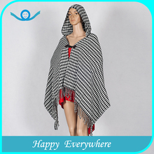 Elegant design popular tartan wool knitted cashmere poncho