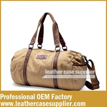 New design canvas travel leather duffle bag