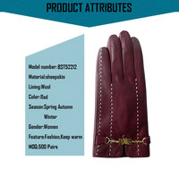 2015 new style ladies red leather gloves,red leather gloves women