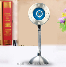 promotioanl spring metal desktop clock with battery clock movement