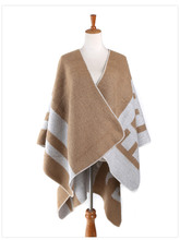 2015 Branded latest autumn and winter wear double-sided color coat warm scarves large shawl lady a generation of fat