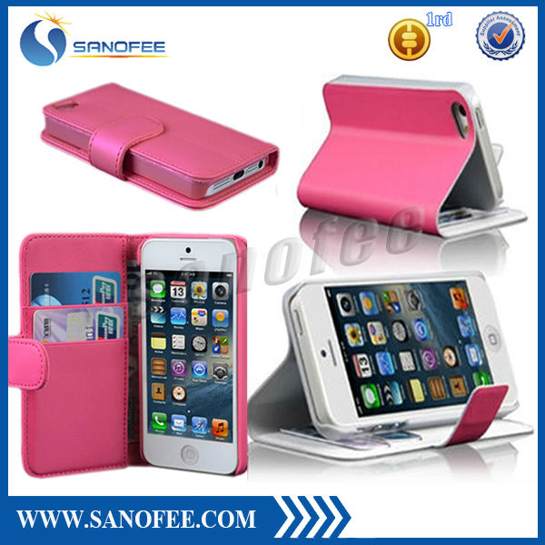 2013 hot selling wallet case for iphone 5 with credit card slot