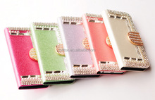 For iPhone 5g 5s bling bling diamond leather cell phone case
