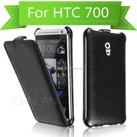 2014 Classic black thermoforming vertical leather flip case for htc desire 700