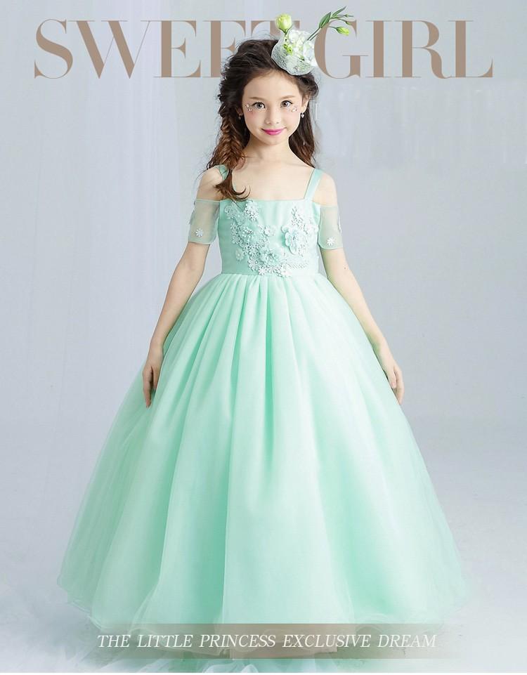 Angel Harness Puffy Wedding Dress Flower Net Frock Designs For Kids ...