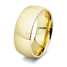 Stainless Steel Simple and Luxury Full Gold Filled Smooth Men's Large Ring