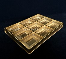 golden blister plastic chocolate box/tray, PVC/PET/PS packing tray