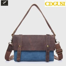 2015 New design vintage canvas bag women shoulder bags geniune leather handbags casual cross-body bags for women