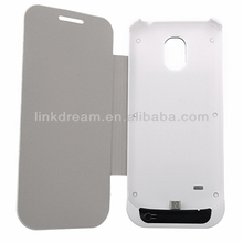 Rechargeable Power Bank Battery PU Leather Case Flip View with Stand For Samsung Galaxy S4 IV mini i9190