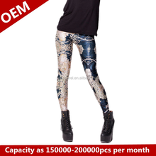 Tie-dye graffiti pattern of tight pants Star 3d leggings pants of shin guards and feet