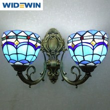 Tiffany color rural style double head art wall lamp, wrought iron bed bath lens headlight corridor lighting