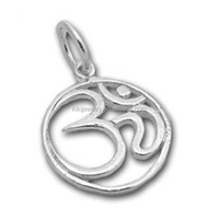 Wholesale Zinc Alloy Rhodium Plated Round Sanskrit Om Yoga Charms With Jump Ring