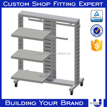 retail display shelf iron and wood modular two-sided shelves
