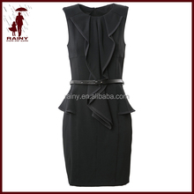 Classical office lady dress with belt and lotus hem invisible zipper at back