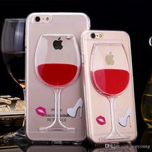 3D Red Wine Bottle Holder Stand Liquid transparent Flowing Quicksand TPU phone Cases For iPhone 5 6 Plus back cover With Retail