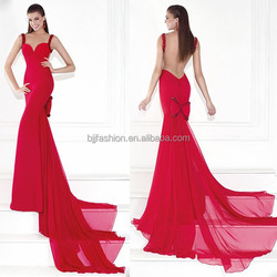 New Arrival Sleeveless Tulle Beaded Mermaid Long Train Chiffon Red Evening Gown