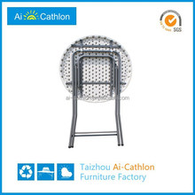 Garden furniture blow molding round plastic folding lightweight bar and pub table