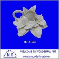 Lotus Flower Candle Holder with handle- Ceramic - White