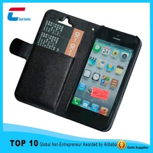 Mobile Phone Case For Iphone 4 4s 5 5s credit card slot,PU leather case for iphone 5 5s
