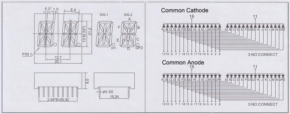 0.54 inch led 14 segment alphamumeric led display 2 digit 2 alpha numeric led