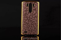 2014 New arrival splendid diamond pattern Gold PC unique design China phone case for LG G3