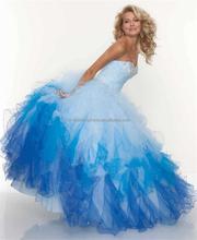 Noiva querida elegante vestido de Organza Beading Formal graduação vestidos moda vestido de noite FXL-214