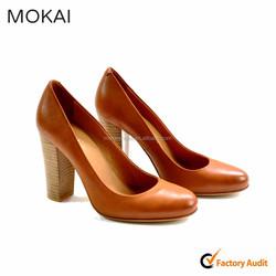 MK003p-1 brown elegent women high heel dress shoe2015, leather lady fashion shoe