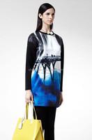 Wholesale Space Cotton fashion printing long sleeve Dress