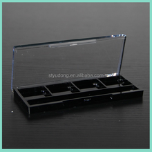 ES0429 Rectangle 4 Colors Black Plastic Eyeshadow Case With Transperant Cover