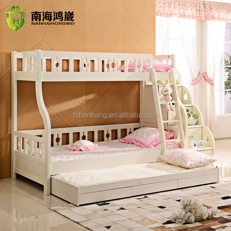 Bunk Bed With White Stairs Cheap With Pull Out Bed