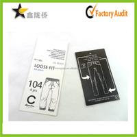 Customized Pants Hang Tag Printing , Price Tag Molding