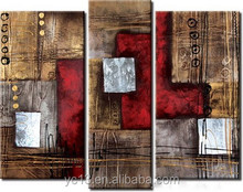 Three Piece 100% Handmade Abstract Group Oil Painting For Decoration