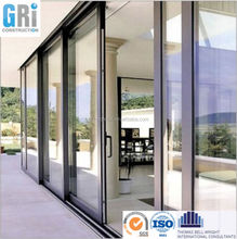 LOWES style aluminum sliding roller door with modern design tempered glass