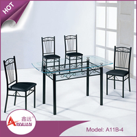 Home furniture modern cheap 4 chairs dinning table set 4 seater glass top dining table