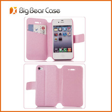Flip leather wallet credit card slot case for iphone 4
