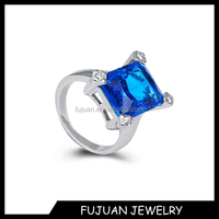 New Fashion Czech Glass birthstone Ring Blue Zircon Ring Wholesale