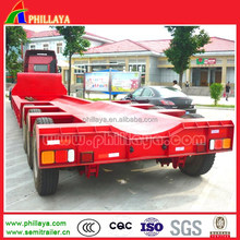 3 axle truck tractor low bed semi trailer for transporting large equipments tank containers