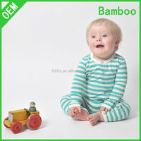 Green Striped Bamboo kids romper jumpsuit clothes baby