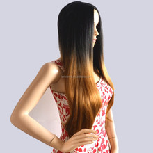 2015 fashion ombre two tone synthetic brown hair wigs cheap top quality long straight full head heat friendly wig no bangs