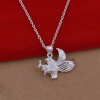 Duoying Factory Sterling 925 Silver Jewelry Vintage Cheap Animal Eagle Necklace, Eagle Birds for Sale