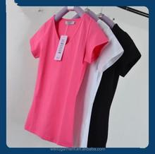 Popular style blank V neck lady t-shirt