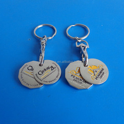 metal canadian quarter and loonie two coin together keyrings, custom stamping shopping grocery cart token coin key chains