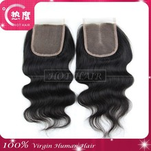 Wholesale human hair body wave lace front closure Brazilian virgin hair 4*4 lace top closure body wave