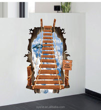 Wholesale 2015high-quality new ideas sky ladder 3D living room bedroom wall stickers grant trade removable waterproof home decor