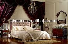 Bisini Wooden Bedroom Set, Luxury Fabric Bedroom Set with Fabric Head Board