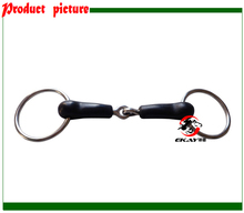 SS ring snaffle bit,rubber wrapped jointed mouth, horse bit.(BT0511R)