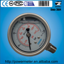 2.5 inch shock proof pressure gauge with oil filled for 100 bar scale range